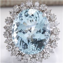 15.86 CTW Natural Aquamarine And Diamond Ring In 18K White Gold