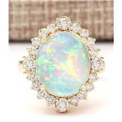 6.53 CTW Natural Opal And Diamond Ring In 14k Yellow Gold