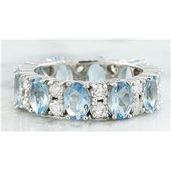 4.45 CTW Aquamarine 14K White Gold Diamond Ring