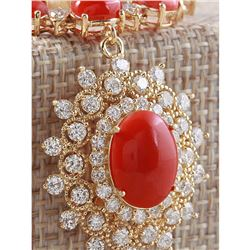 33.22 CTW Natural Red Coral And Diamond Necklace In 18K Yellow Gold