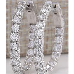 3.50 CTW Natural Diamond Hoop Earrings 18K Solid White Gold