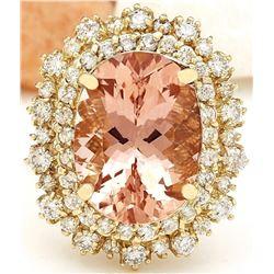11.25 CTW Natural Morganite 14K Solid Yellow Gold Diamond Ring