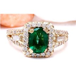 2.80 CTW Natural Emerald 14K Solid Yellow Gold Diamond Ring