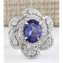5.11tw Natural Blue Tanzanite And Diamond Ring 18K Solid White Gold