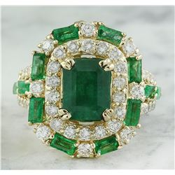 6.90 CTW Emerald 14K Yellow Gold Diamond Ring