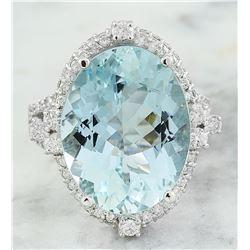 11.45 CTW Aquamarine 14K white Gold Diamond ring