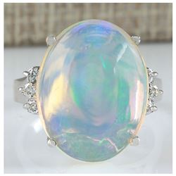 9.82 CTW Natural Opal And Diamond Ring 18K Solid White Gold