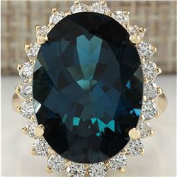 14.11 CTW Natural London Blue Topaz And Diamond Ring 18K Solid Yello Gold