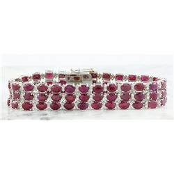 43.00 CTW Ruby 14K White Gold Diamond Bracelet