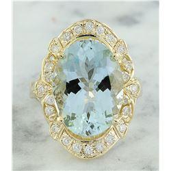6.43 CTW Aquamarine 14K Yellow Gold Diamond Ring