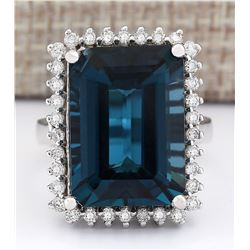 19.51 CTW Natural London Blue Topaz And Diamond Ring In18K Solid White Gold