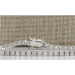 3.50 CTW Natural Diamond Bracelet In 18K Solid White Gold