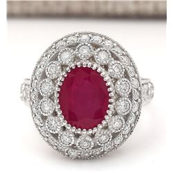 3.76 CTW Natural Ruby And Diamond Ring In 14k White Gold