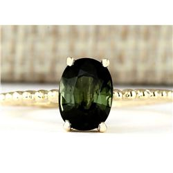 1.62 CTW Natural Green Tourmaline Ring In 18K Yellow Gold