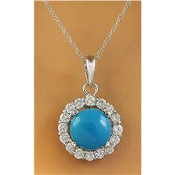 1.82 CTW Turquoise 14K White Gold Diamond Necklace
