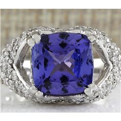 6.32 CTW Natural Tanzanite And Diamond Ring In 18K Solid White Gold