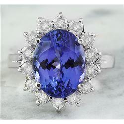 8.70 CTW Tanzanite 18K White Gold Diamond Ring