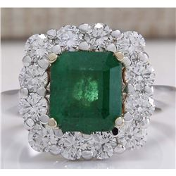 4.95 CTW Natural Emerald And Diamond Ring 18K Solid White Gold
