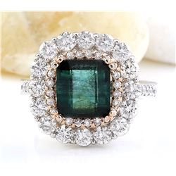 5.32 CTW Natural Emerald 18K Solid Two Tone Gold Diamond Ring