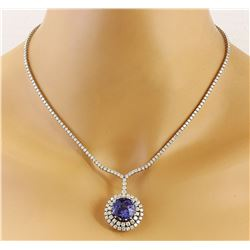 22.09 CTW Natural Tanzanite 18K Solid White Gold Diamond Necklace