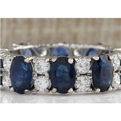 6.95 CTW Natural Blue Sapphire And Diamond Ring 18K Solid White Gold