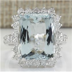 10.55 CTW Natural Aquamarine And Diamond Ring In 18K White Gold