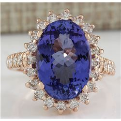 7.66 CTW Natural Tanzanite And Diamond Ring In 18K Solid Rose Gold