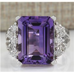 7.53 CTW Natural Amethyst And Diamond Ring In 14K White Gold