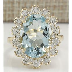 7.11 CTW Natural Aquamarine And Diamond Ring In 14K Solid Yellow Gold
