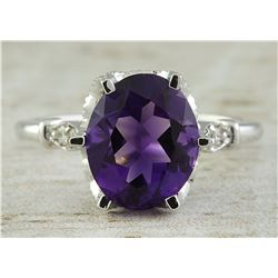 3.41 CTW Amethyst 14K White Gold Diamond Ring