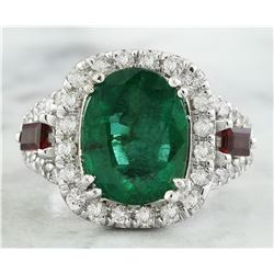 5.20 CTW Emerald Ruby 18K White Gold Diamond Ring