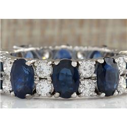 6.95 CTW Natural Blue Sapphire And Diamond Ring 14K Solid White Gold