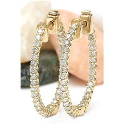 1.75 CTW Natural Diamond 18K Solid Yellow Gold Earrings
