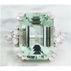10.00 CTW Aquamarine 14K White Gold Diamond Ring