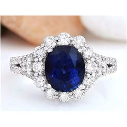 4.80 CTW Natural Sapphire 18K Solid White Gold Diamond Ring