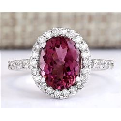 3.02 CTW Natural Pink Tourmaline And Diamond Ring 18K Solid White Gold