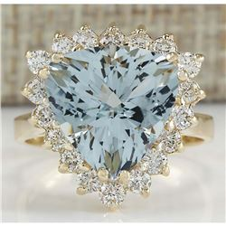 5.84 CTW Natural Aquamarine And Diamond Ring 18K Solid Yellow Gold
