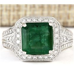 4.88 CTW Natural Emerald And Diamond Ring In 14k White Gold