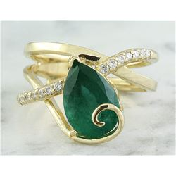 3.55 CTW Emerald 18K Yellow Gold Diamond Ring