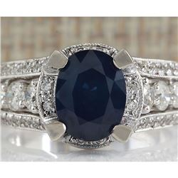 4.45 CTW Natural Blue Sapphire And Diamond Ring In 18K White Gold