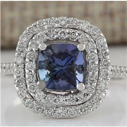 2.37 CTW Natural Blue Tanzanite And Diamond Ring In 18K White Gold