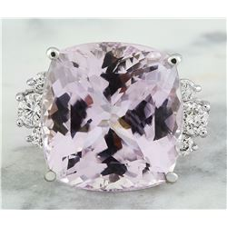 23.75 CTW Kunzite 18K White Gold Diamond Ring