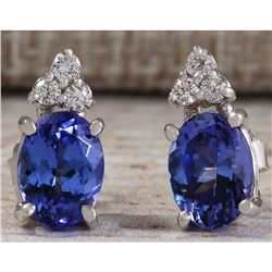 3.00 CTW Natural Blue Tanzanite And Diamond Earrings 18K Solid White Gold