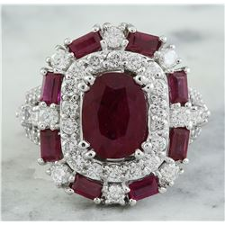 6.10 CTW Ruby 18K White Gold Diamond Ring