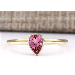 0.50 CTW Natural Pink Tourmaline Ring 18K Solid Yellow Gold