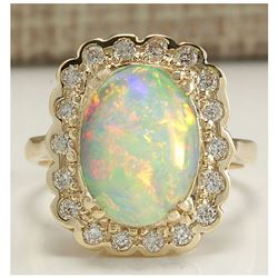 2.95 CTW Natural Opal And Diamond Ring In 14K Solid Yellow Gold
