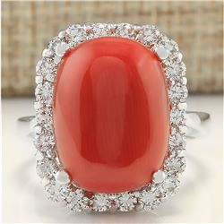 12.14 CTW Natural Coral And Diamond Ring In 18K White Gold