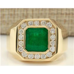 MENS 4.26 CTW Natural Emerald And Diamond Ring In 14k Yellow Gold
