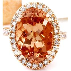 9.81 CTW Natural Morganite 14K Solid Rose Gold Diamond Ring