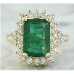 3.72 CTW Emerald 14K Yellow Gold Diamond Ring